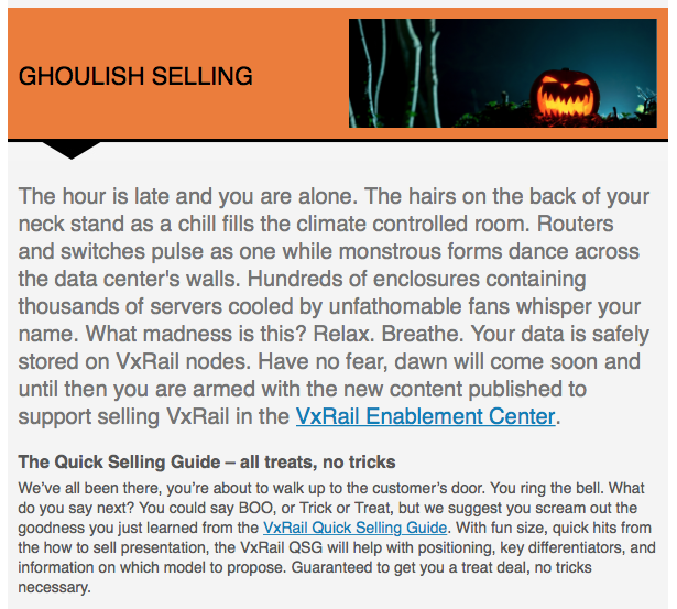 The hour is late, time for some ghoulish selling